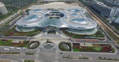 Modern futuristic buildings of a shopping mall in Sanya in China, 4K Stock Footage