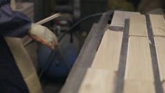 Hardwood Flooring Workshop - Preparing Floor Panels for Polishing Stock Footage