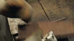 Hardwood Flooring Workshop - Scraping off the Old Tar Stock Footage