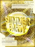 Gorgeous summer party poster design Stock Illustration