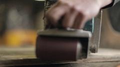 Hardwood Flooring Workshop - Sanding Reclaimed Wood Panelling Stock Footage