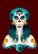 Day of the dead woman portrait illustration Stock Illustration