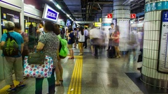 Railway Station Seoul in Timelapse Stock Footage