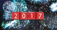 2017 against a composite image 3D of fireworks Stock Illustration