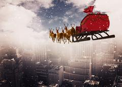 3D Reindeer sleigh riding above the city Stock Illustration