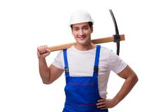 Man with axe isolated on the white Stock Photos