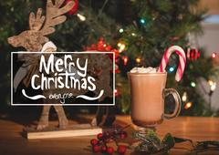 Merry christmas message against christmas decoration Stock Photos