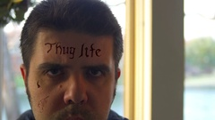 Face tattoo tattoos thuglife thug life Stock Footage