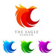 Eagle logo emplate, falcon, hawk vector logo design Stock Illustration