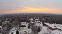 Winter sunrise over snow covered york south carolina Stock Footage