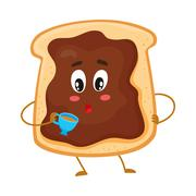Cute and funny toast with chocolate spread character holding cup Stock Illustration