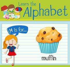 Flashcard letter M is for muffin Stock Illustration