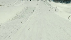 Skier on the giant track by the ski-lift. Stock Footage