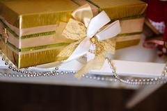 Presents and gifts of Happy New Year. Holiday decoration Stock Photos