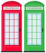 Telephone booths in red and green Stock Illustration