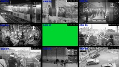Surveillance - Green Screen - View - Monitor - blue Stock Footage