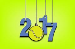Tennis ball  and 2017 hanging on strings Stock Illustration