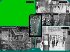 Surveillance - Green Screen - location - Monitor - blue Stock Footage