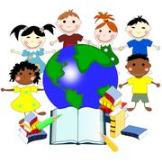 Children of different races with books and a map of the world, education co.. Stock Illustration