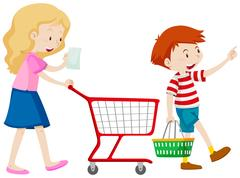 Boy and mother shopping for grocery Stock Illustration