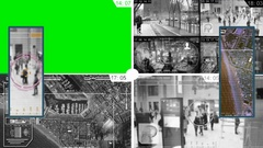 Surveillance - Green Screen - Map - Monitor - white Stock Footage