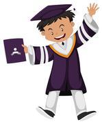 Man in purple graduation outfit Stock Illustration