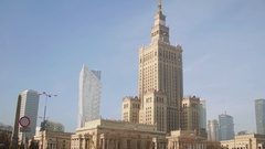 WARSAW, POLAND - NOVEMBER, 26, 2016. Local landmark, Palace of Culture and Stock Footage