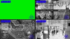 Surveillance - Green Screen - computer - Monitor - blue Stock Footage