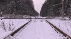 Abandoned railroad with a crossing car Stock Footage