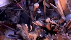Lute makers working tools Stock Footage