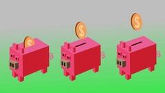 Piggy banks isometric cartoon Stock Footage