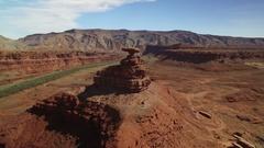 Mexican Hat Aerial Shot of San Juan River Utah USA Stock Footage