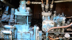 Diesel blue tractor truck engine detail Stock Footage