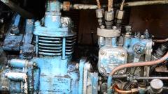Diesel blue tractor truck engine detail Arkistovideo