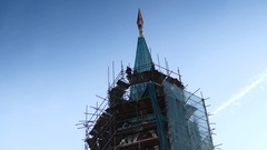 Repairs on Nikolskaya Tower, Moscow Kremlin, Russia Stock Footage