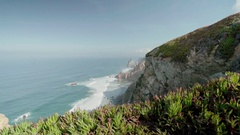 View over Ocean from the Cliff Stock Footage