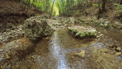 Spring rill flow in mountain Stock Footage