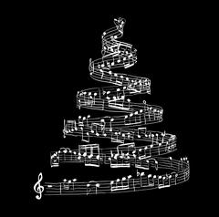 Christmas tree from music notes Piirros
