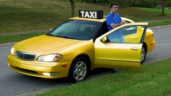 S2 man waiting next to Taxi car Stock Footage