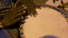 4K Local Moroccan playing a drum Stock Footage
