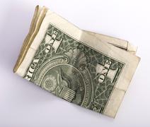 One crumpled one dollar banknote Kuvituskuvat