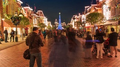 Time Lapse Many People Enjoyment Around Christmas Tree Of Hong Kong Disneyland Stock Footage