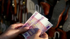 Shoestore shoe store shoe sales euro cash Stock Footage