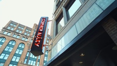 CLEVELAND, DOWNTOWN, CORNER ALLEY SIGN ATTACHED TO BUILDING, CLOSE-UP Stock Footage