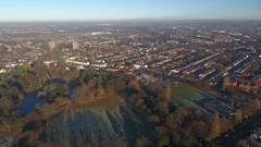Aerial view of West Park in Wolverhampton, UK. Stock Footage
