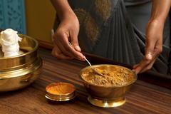 Traditional indian ayurvedic  massage Stock Photos