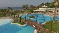 Beautiful view of the water pool in the tropical resort Kusadasi, Turkey Stock Footage