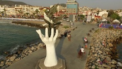 Sculpture for a peace on the promenade next to the Aegean sea Stock Footage