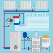 Energy-saving heating system.  Pellet boiler, heating systems with wood. Ma.. Stock Illustration