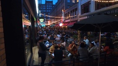 CLEVELAND, URBAN OUTDOOR DINING, EVENING,  EAST 4TH ST Stock Footage